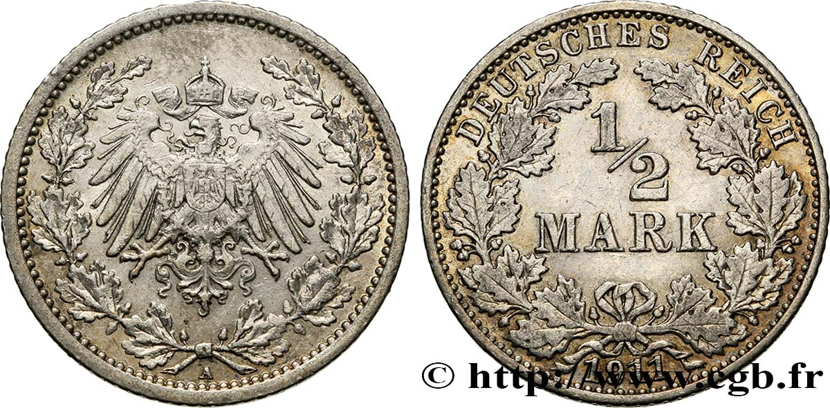 ALLEMAGNE 1/2 Mark Empire aigle impérial 1911 Berlin SUP