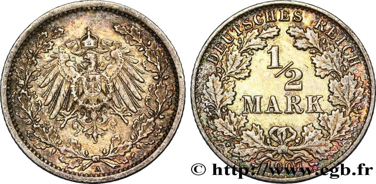 ALLEMAGNE 1/2 Mark Empire aigle impérial 1907 Berlin SUP