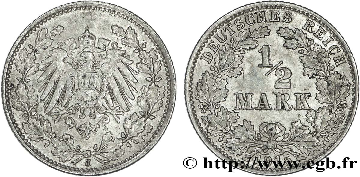 ALLEMAGNE 1/2 Mark Empire aigle impérial 1915 Karlsruhe SUP