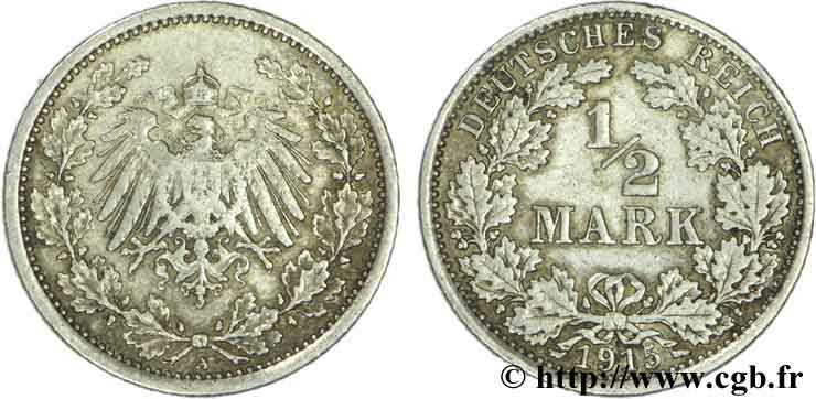 ALLEMAGNE 1/2 Mark Empire aigle impérial 1915 Berlin TB