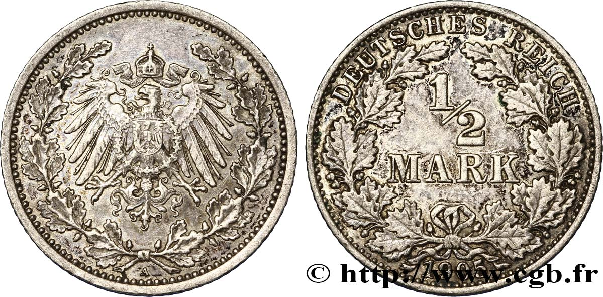 ALLEMAGNE 1/2 Mark Empire aigle impérial 1905 Berlin SUP