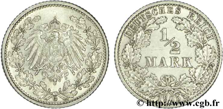 ALLEMAGNE 1/2 Mark Empire aigle impérial 1905 Karlsruhe - G SUP