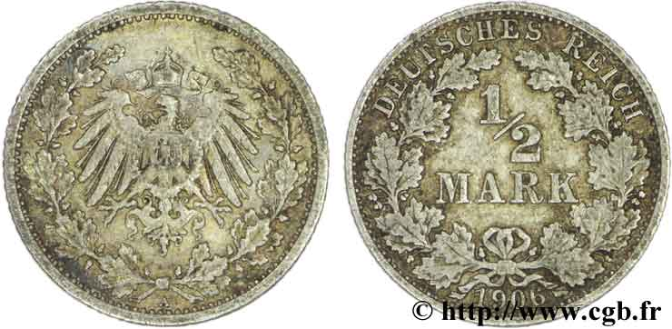 GERMANY 1/2 Mark Empire aigle impérial 1906 Berlin