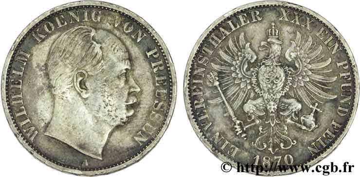 ALLEMAGNE 1 Thaler Guillaume / aigle impérial 1870 Berlin TB+