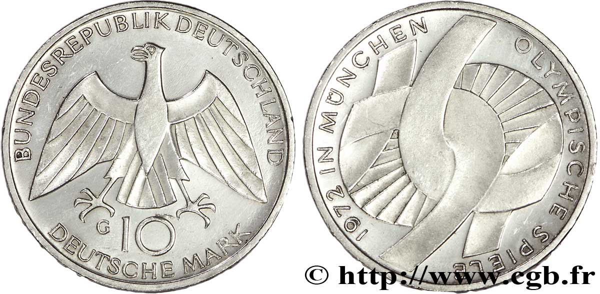 ALLEMAGNE 10 Mark BE (proof) XXe J.O. Munich : l'idéal olympique / aigle 1972 Karlsruhe - G SUP