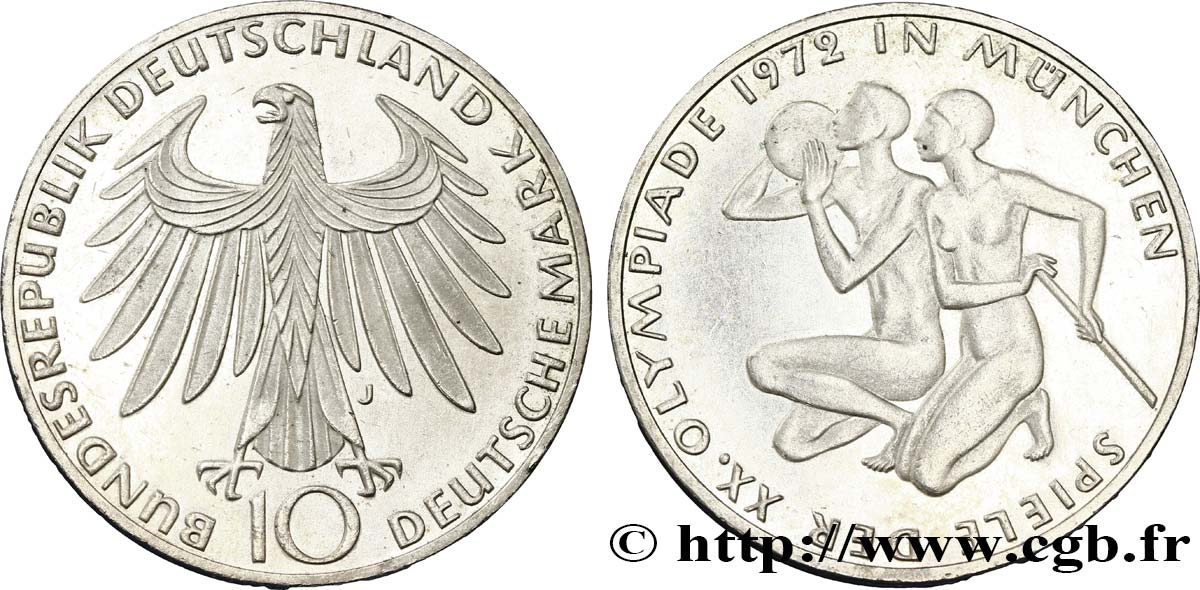ALLEMAGNE 10 Mark BE (Proof) XXe J.O. Munich : basket-ball et canoeing / aigle 1972 Hambourg - J SUP