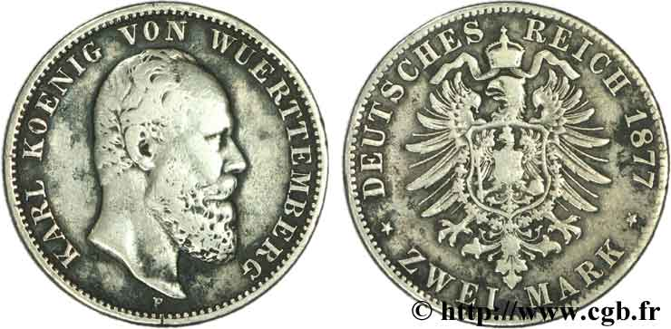 ALLEMAGNE - WURTEMBERG 2 Mark Royaume du Wurtemberg Charles / aigle impérial 1877 Stuttgart - F TB