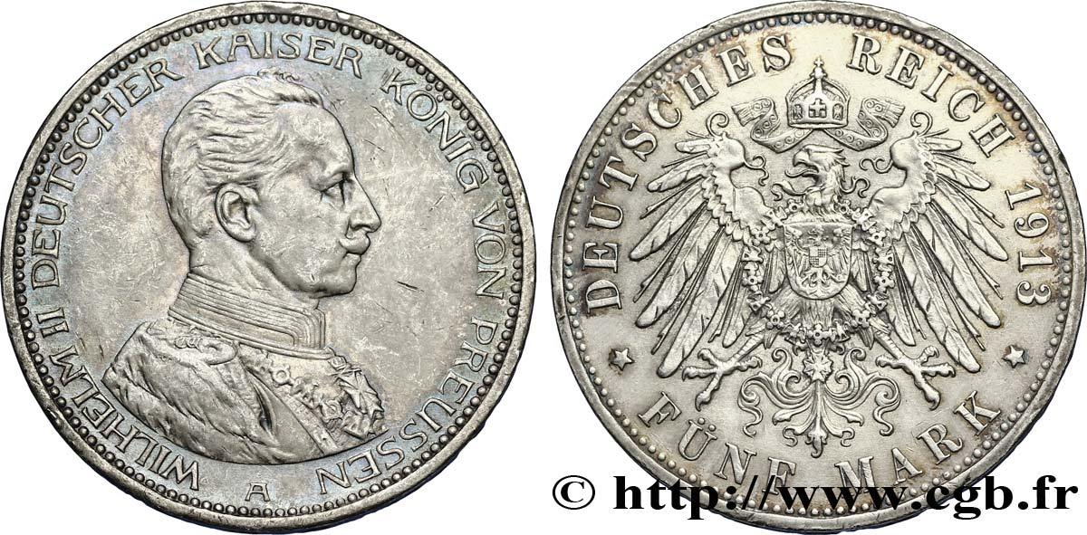 ALLEMAGNE - PRUSSE 5 Mark Guillaume II 1913 Berlin SUP