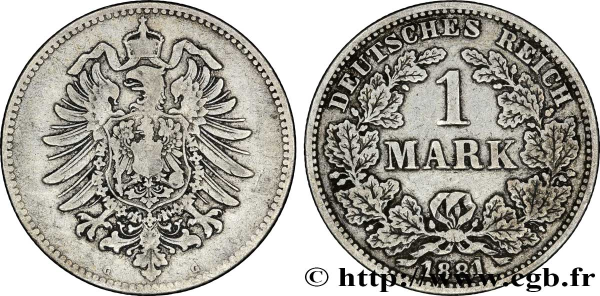 ALLEMAGNE 1 Mark Empire aigle impérial 1881 Karlsruhe - G TB+