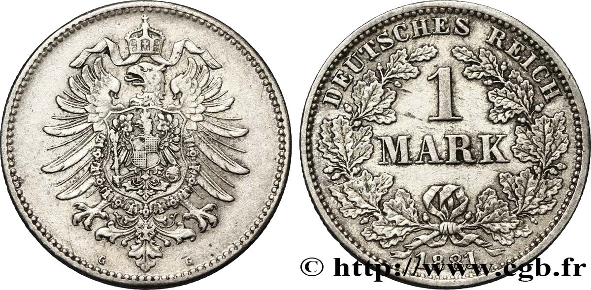ALLEMAGNE 1 Mark Empire aigle impérial 1881 Karlsruhe - G TTB+
