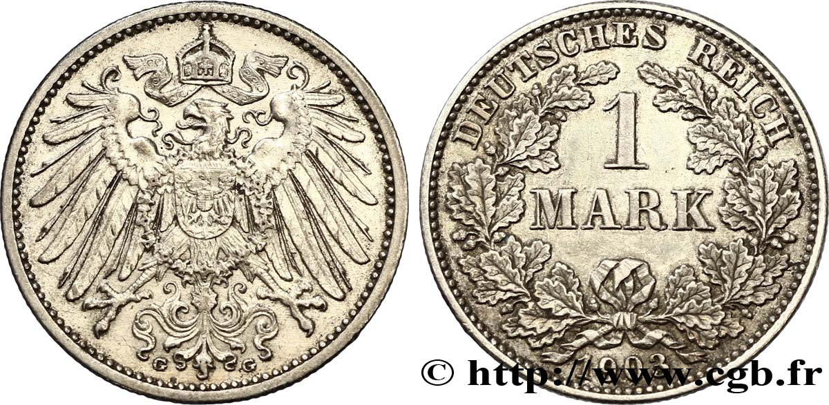 ALLEMAGNE 1 Mark Empire aigle impérial 2e type 1903 Karlsruhe - G SUP
