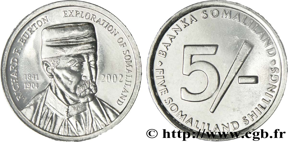SOMALILAND 5 Shillings l'explorateur Sir Richard F. Burton 2002  SPL