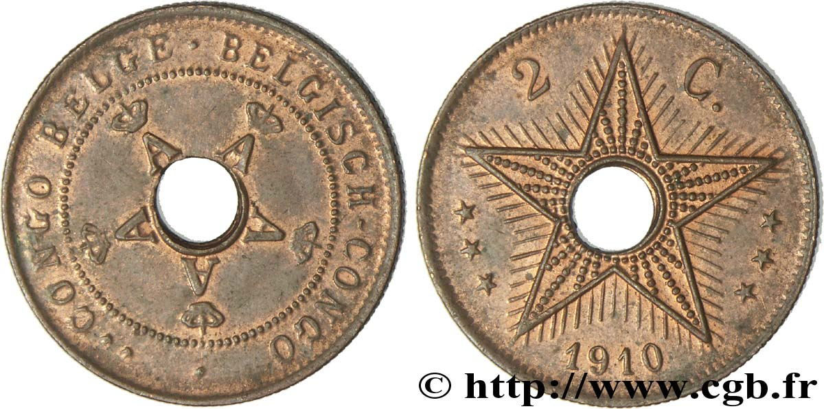 CONGO BELGE 2 Centimes 1910  SUP