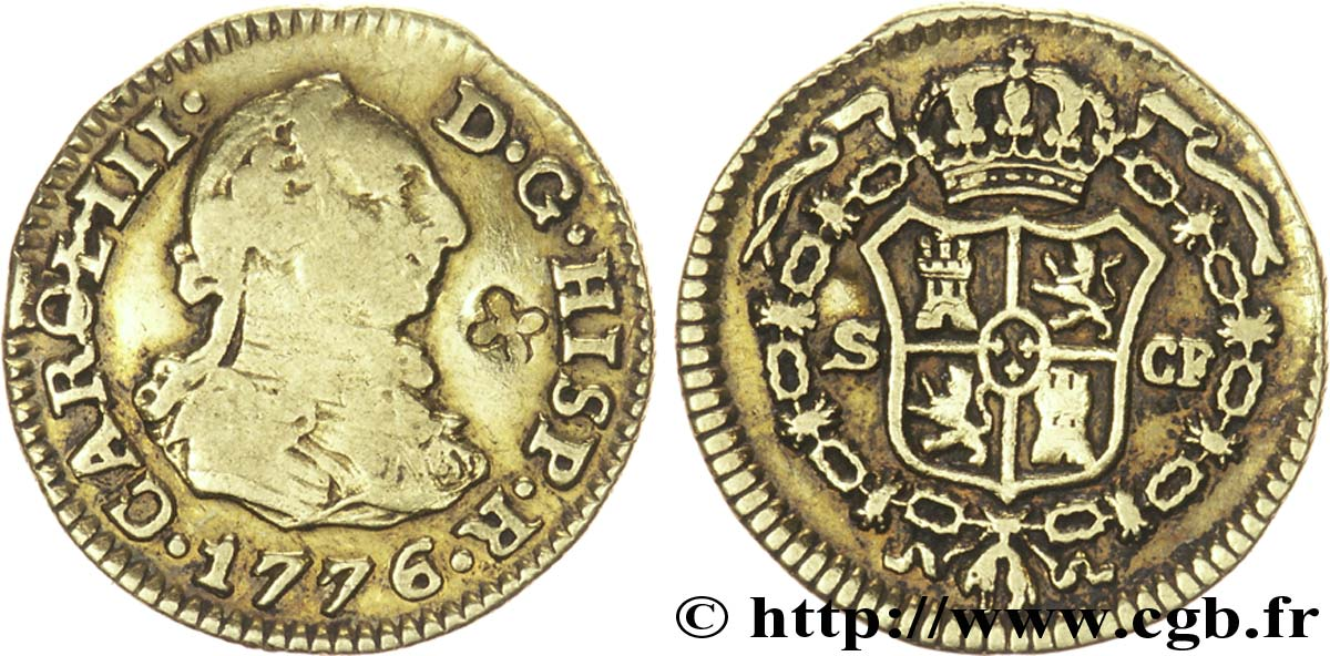 ESPAGNE 1/2 Escudo Charles III / armes CF 1776 Séville - S TB+