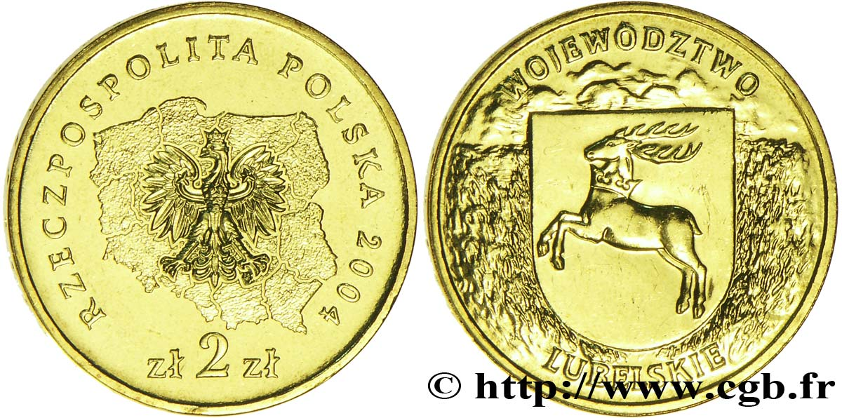 POLOGNE 2 Zlote aigle / écu au cerf du district de Lubelskie 2004 Varsovie SPL