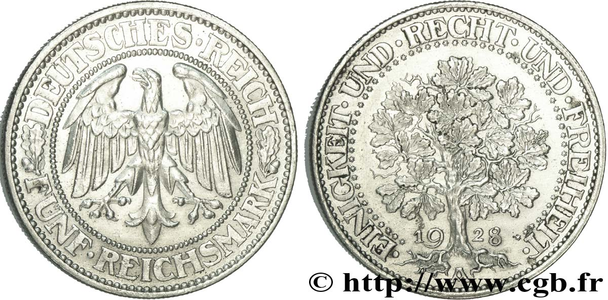 ALLEMAGNE 5 Reichsmark aigle / chêne 1928 Berlin SUP