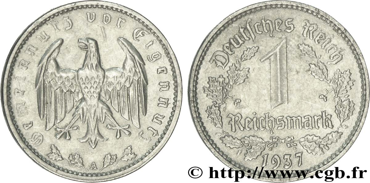 ALLEMAGNE 1 Reichsmark aigle 1937 Berlin SUP