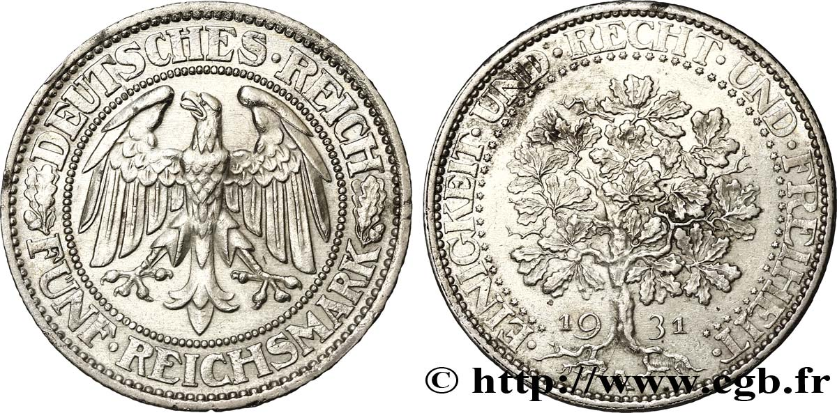 ALLEMAGNE 5 Reichsmark aigle / chêne 1931 Berlin SUP