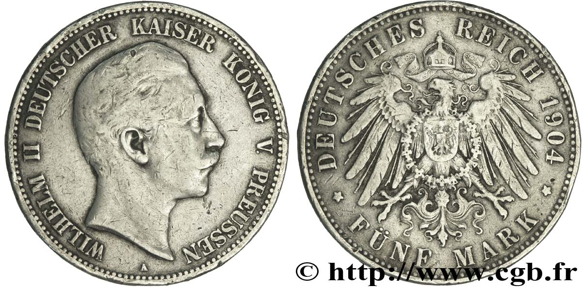 ALLEMAGNE - PRUSSE 5 Mark Guillaume II / aigle 1904 Berlin TB