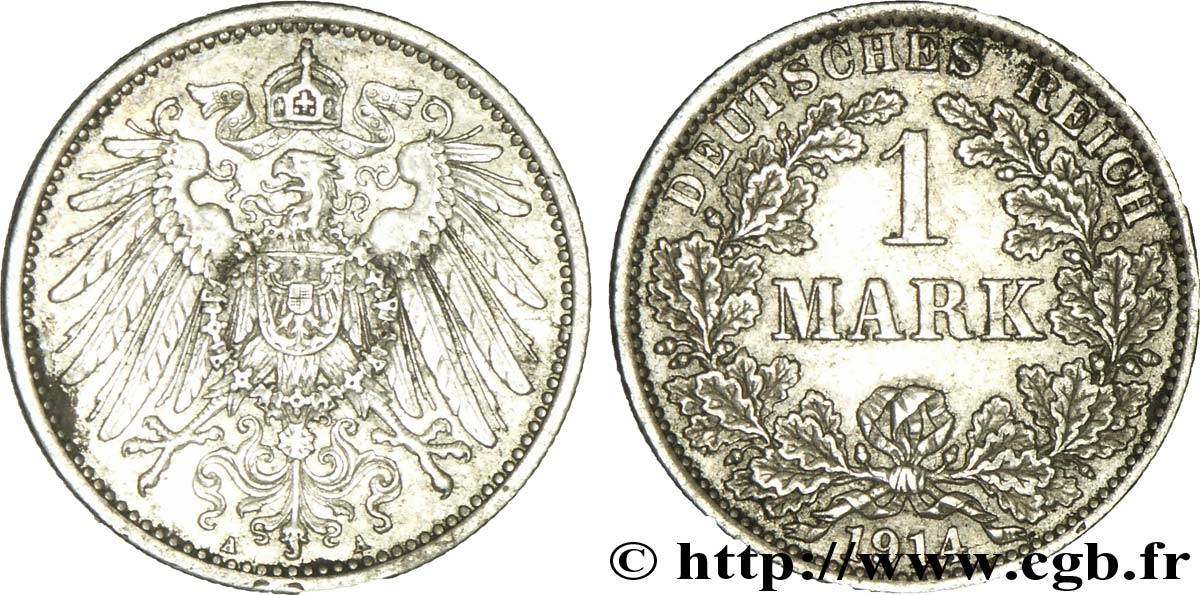 ALLEMAGNE 1 Mark Empire aigle impérial 2e type 1914 Berlin SUP