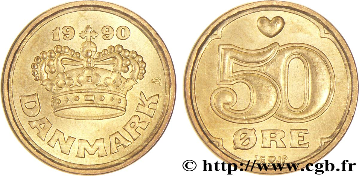 DANEMARK 50 Ore couronne 1990 Copenhague SPL