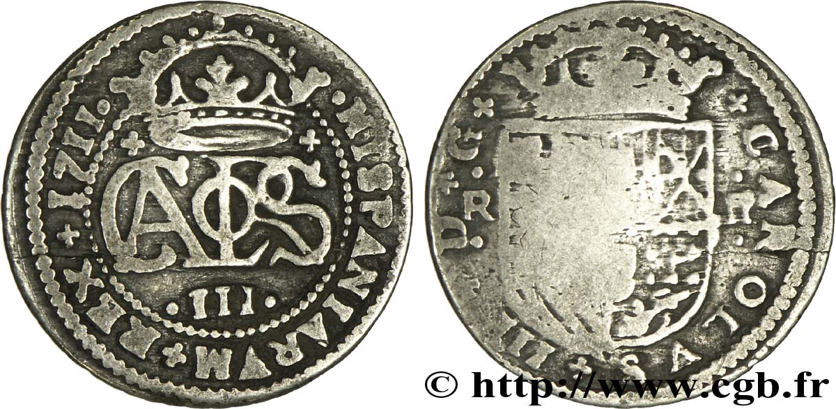 ESPAGNE 2 Reales Charles III archiduc prétendant 1711 Barcelone B+