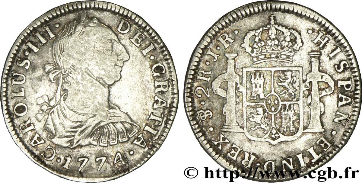 BOLIVIE 2 Reales Charles III d'Espagne JR 1774 Potosi TB