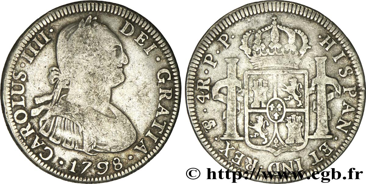 BOLIVIE 4 Reales Charles III d'Espagne JR 1798 Potosi TB+