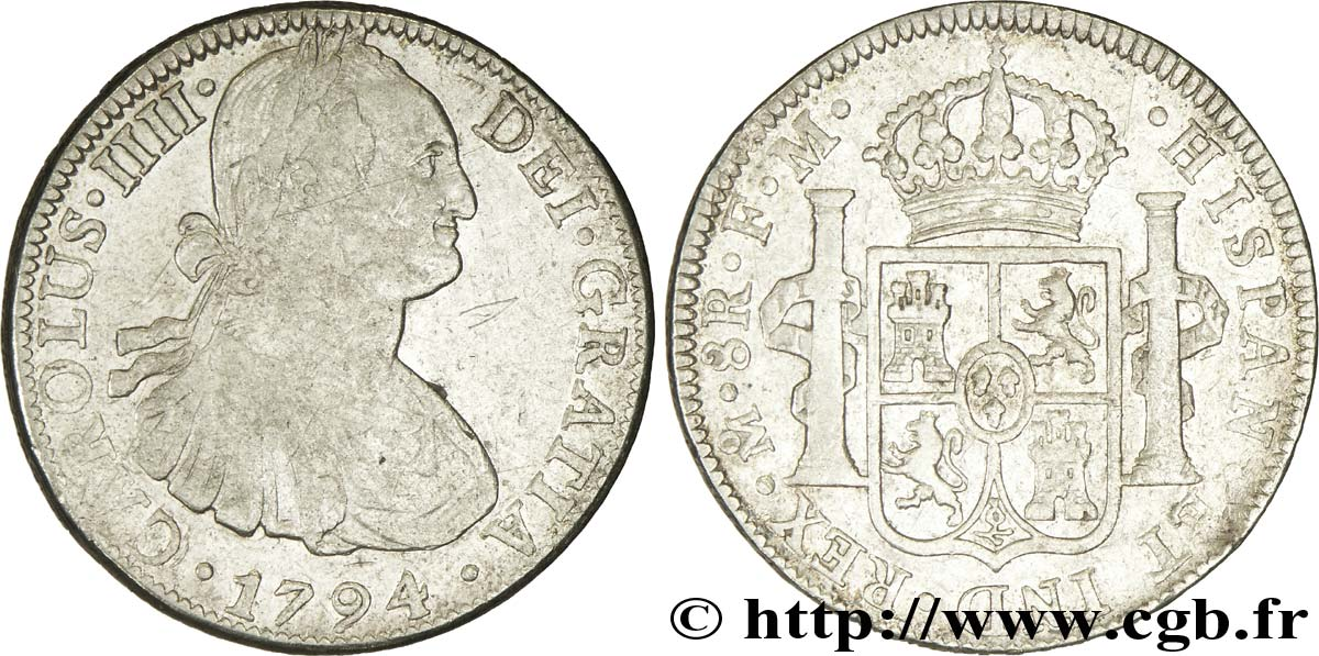 MEXIQUE 8 Reales Charles IIII FM 1794 Mexico TB+