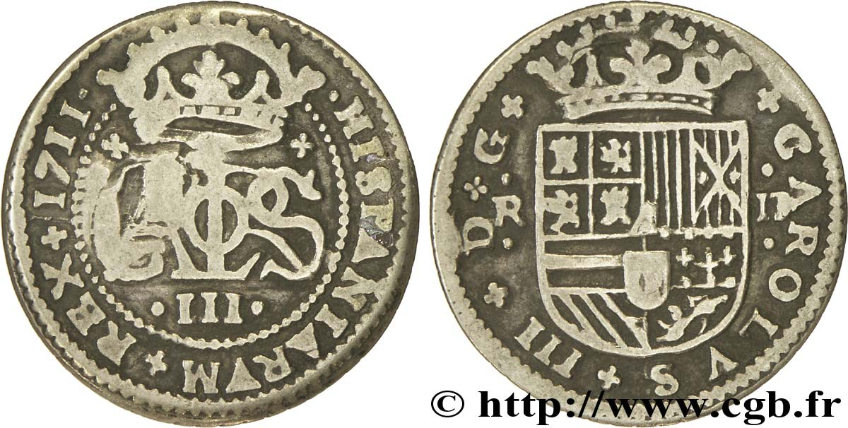 ESPAGNE 2 Reales Charles III archiduc prétendant 1711 Barcelone TB