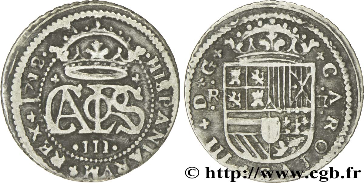ESPAGNE 2 Reales Charles III archiduc prétendant 1712 Barcelone TB+
