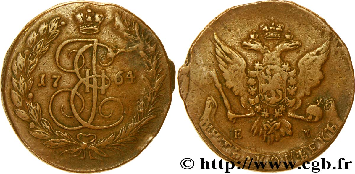 RUSSIE 5 Kopeck aigle bicéphale/monograme de Catherine II 1764 Ekaterinbourg TB
