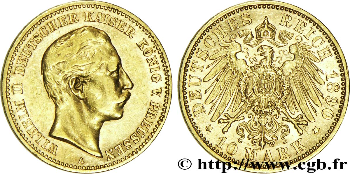 ALLEMAGNE - PRUSSE 10 Mark or Royaume de Prusse, empereur Guillaume II / aigle impérial 1890 Berlin TTB+