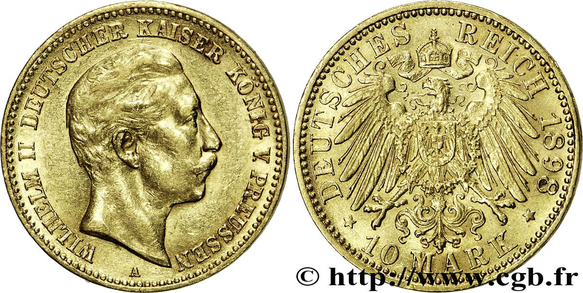 ALLEMAGNE - PRUSSE 10 Mark or Royaume de Prusse, empereur Guillaume II / aigle impérial 1898 Berlin SUP