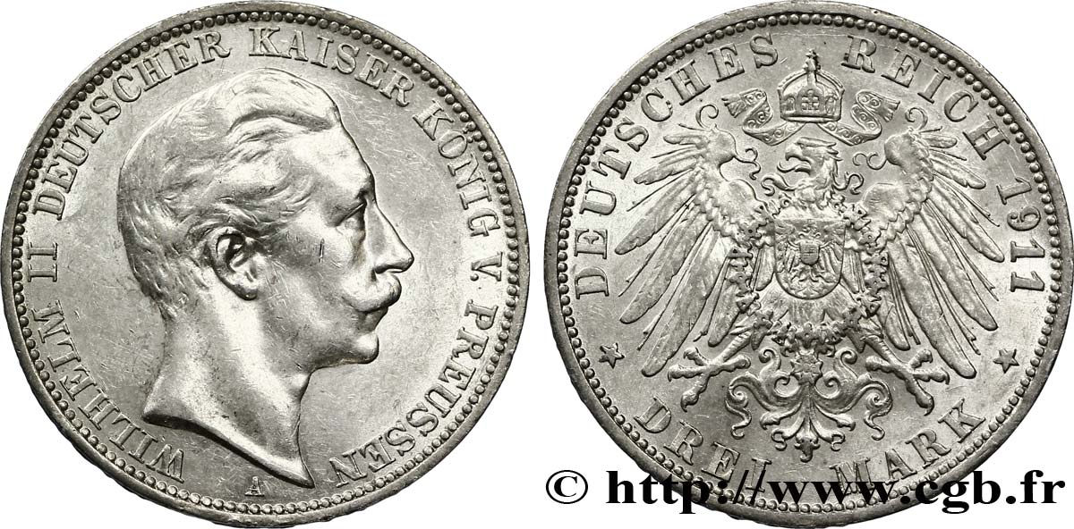 ALLEMAGNE - PRUSSE 3 Mark Royaume de Prusse : Guillaume II / aigle 1911 Berlin SUP