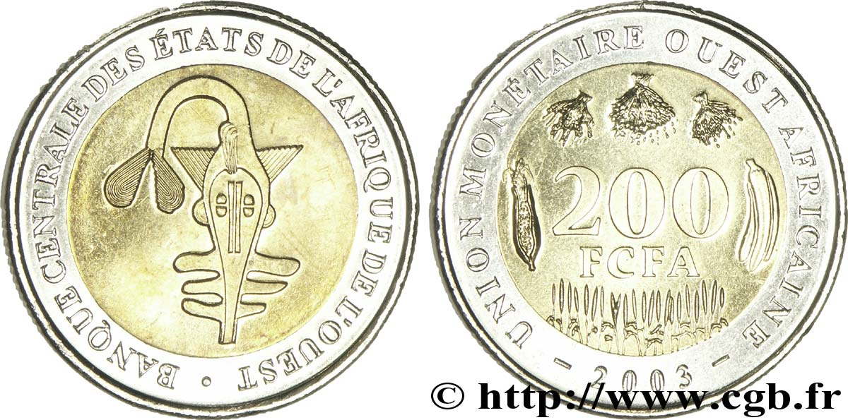 WEST AFRICAN STATES (BCEAO) 200 Francs BCEAO masque 2003  MS