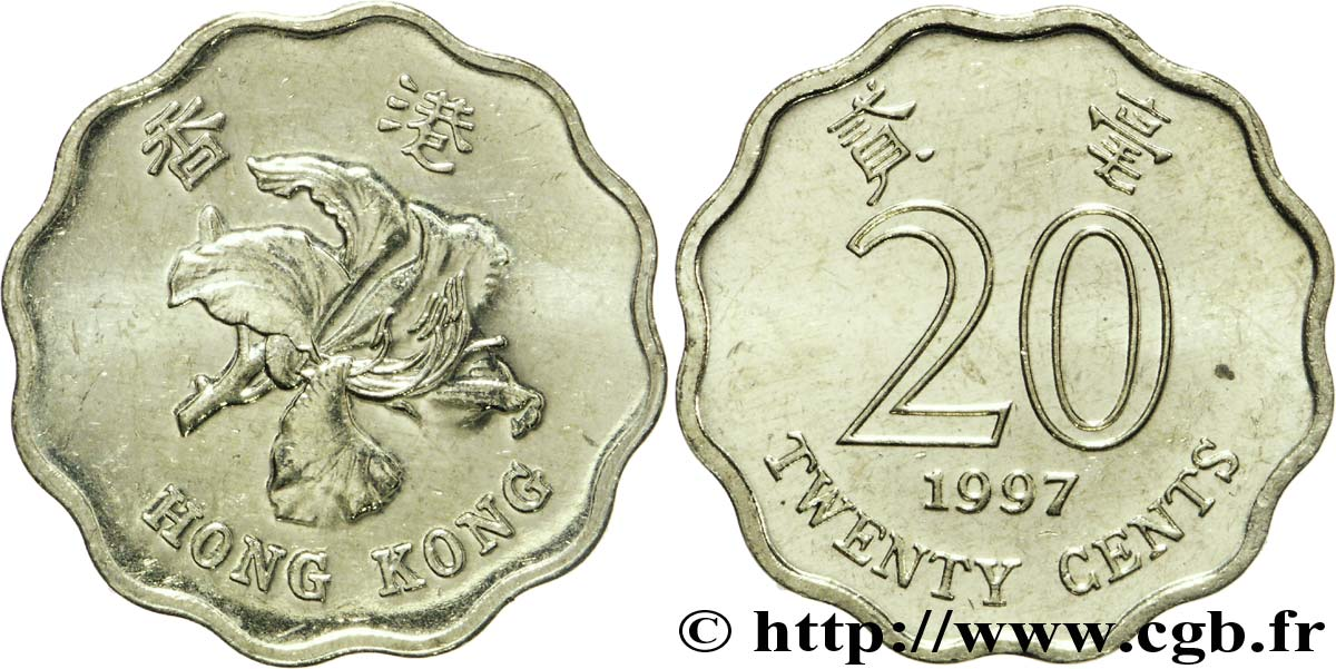 HONG KONG 20 Cents orchidée 1997  SPL