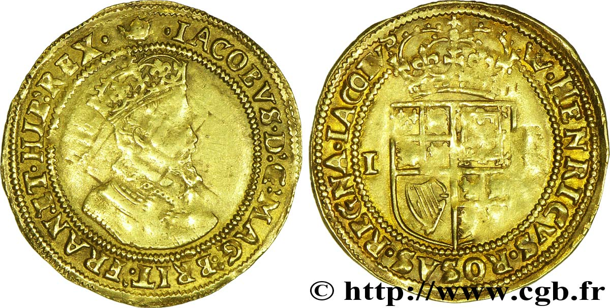 ROYAUME-UNI Double Couronne d or ou sovereign, 2e type, 4e buste (1607-1609) Jacques VI d'Angleterre N.D. Londres La Tour TB+