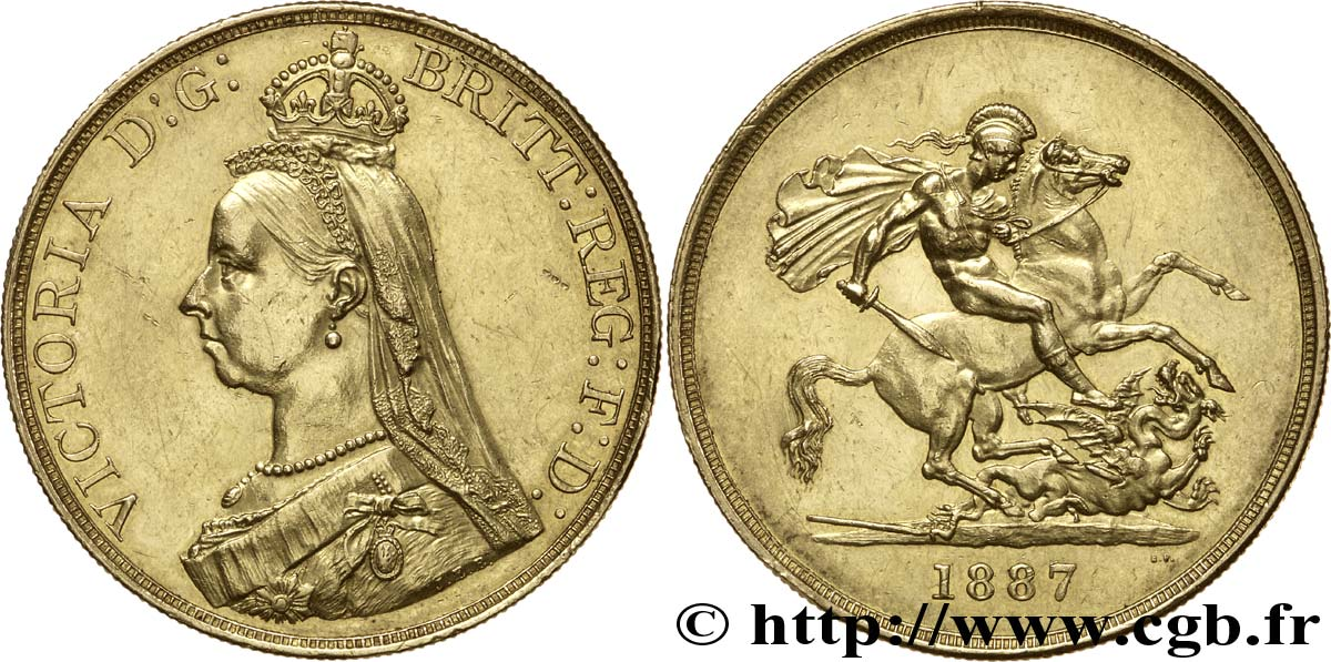 ROYAUME-UNI 5 Livres (Five pounds), Victoria  Jubilee head  / St Georges vterrassant le dragon 1887 Londres SUP