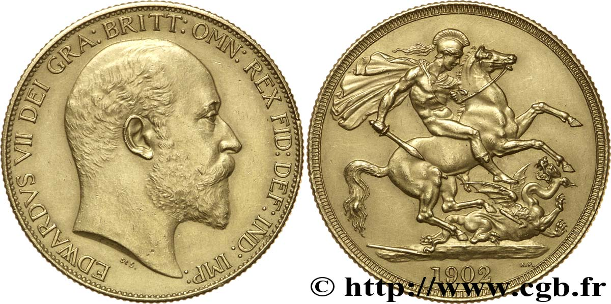 ROYAUME-UNI Deux Livres (two pounds) Edouard VII / St Georges terrassant le dragon 1902 Londres SUP
