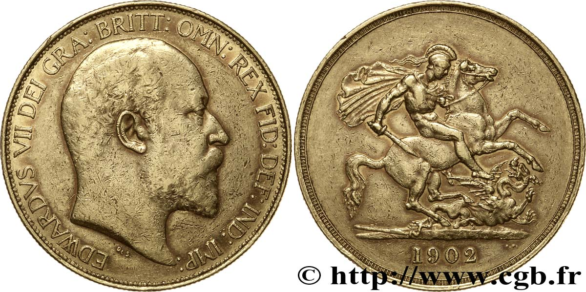 ROYAUME-UNI 5 Livres (five pounds) Edouard VII / St Georges terrassant le dragon 1902 Londres TTB