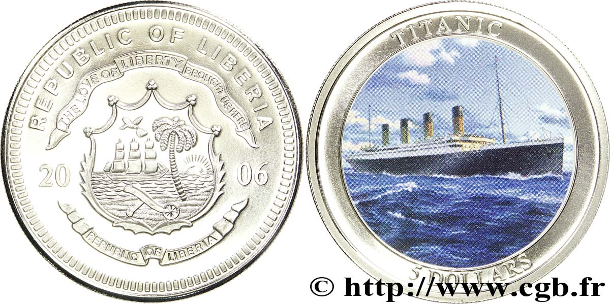 LIBERIA 5 Dollars BE armes / paquebot Titanic 2006  FDC