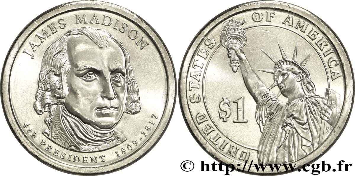 UNITED STATES OF AMERICA 1 Dollar Présidentiel James Madison tranche B 2007 Philadelphie MS