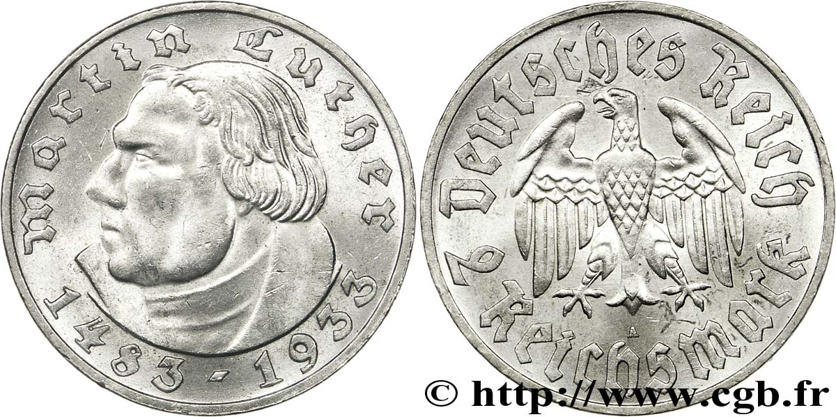ALLEMAGNE 2 Reichsmark Martin Luther / aigle 1933 Berlin SUP