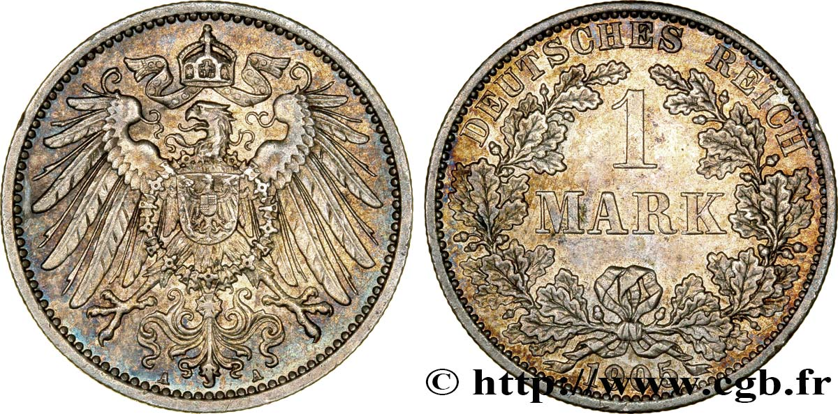 ALLEMAGNE 1 Mark Empire aigle impérial 2e type 1905 Berlin SUP