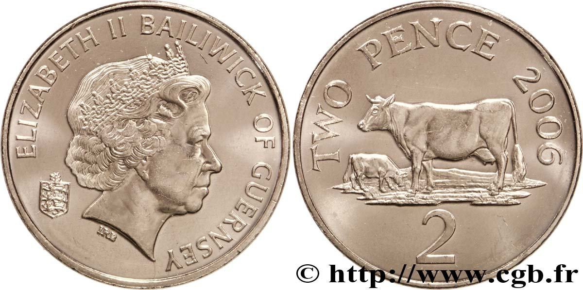 GUERNESEY 2 Pence Elisabeth II / vaches 2006  SPL