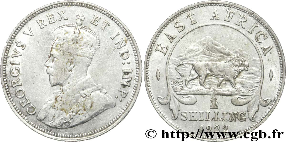 AFRIQUE DE L EST 1 Shilling Georges V / lion 1922 British Royal Mint TTB