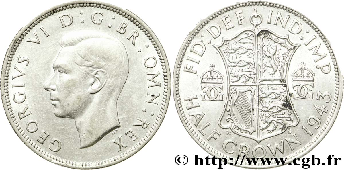 ROYAUME-UNI 1/2 Crown Georges VI 1943  SUP