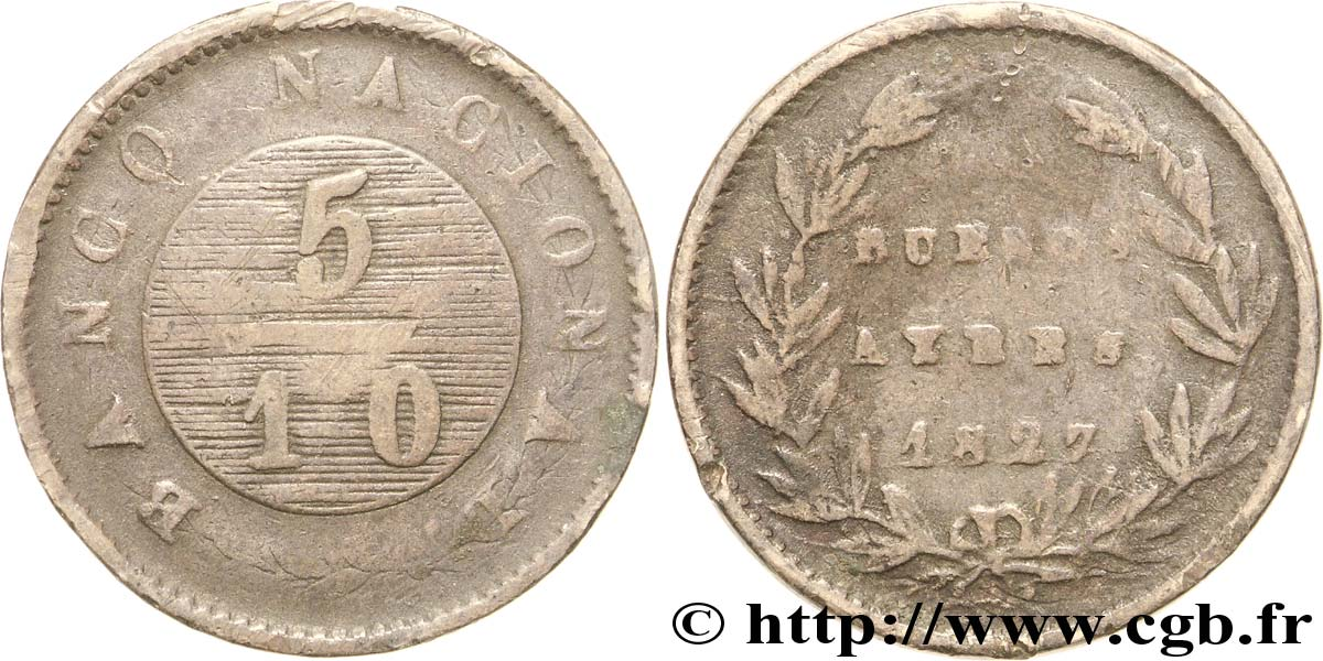 ARGENTINE 5/10 Real Province de Buenos Aires 1827  B+