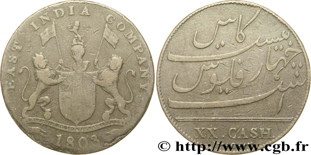 INDE 20 Cash Madras East India Company 1803  TB